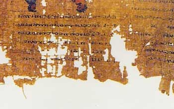 Writing on tattered papyrus